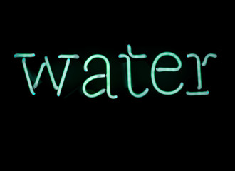 word water written in neon lamp