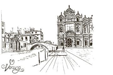 Vector sketch of The Scuola Grande di San Marco ( Scuole Grandi of Venice). Venice. Italy.