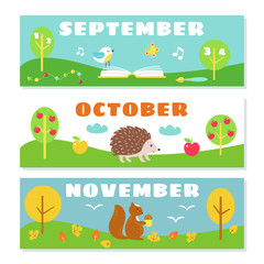 Autumn Months Calendar Flashcards Set. Nature and Symbols Illustrations
