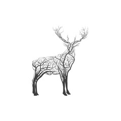 Branch Wood Twig Deer. hipster forest poster. Vector illustration isolated on white