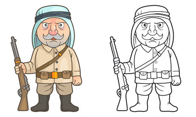 Cartoon Arabian soldier stands guard with a rifle in his hand