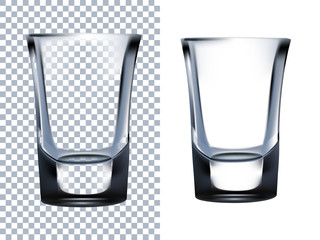 Shot Glass Transparent Isolated on White Background.