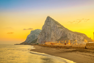 View on Gibraltar rock at sunset from beach in La Linea de la Concepcion, Andalusia, Spain