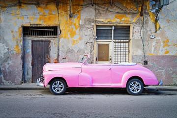 classic american car in street of havana, cuba