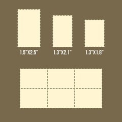 Blank postage stamps of america size, vector templates, flat design vector