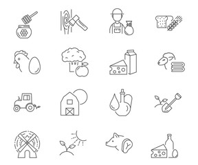 Farm set of vector icons