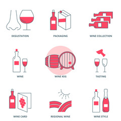 Wine vector icons set