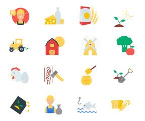 Farm set of flat style icons
