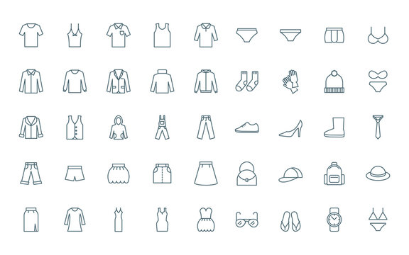 Clothes set of line style icons