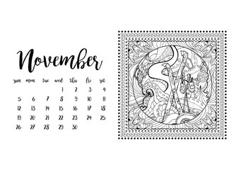 Desk calendar horizontal template 2017 for month November. Week starts Sunday