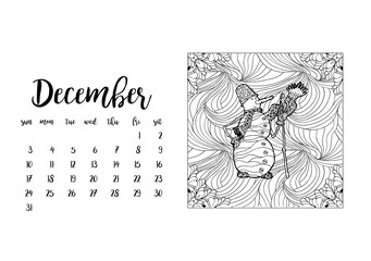 Desk calendar horizontal template 2017 for month December. Week starts Sunday
