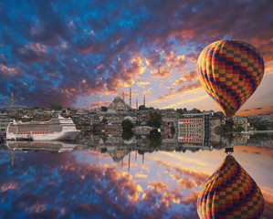 Cityscape with Galata Tower, Golden Horn and Balloon  in Istanbul, Turkey