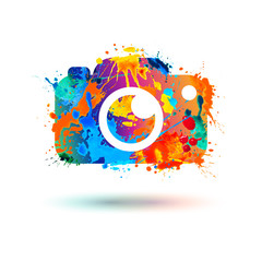 Photo camera icon. Splash paint