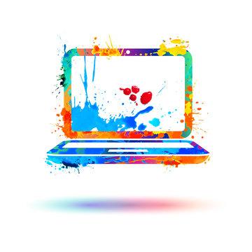 Laptop icon. Splash paint