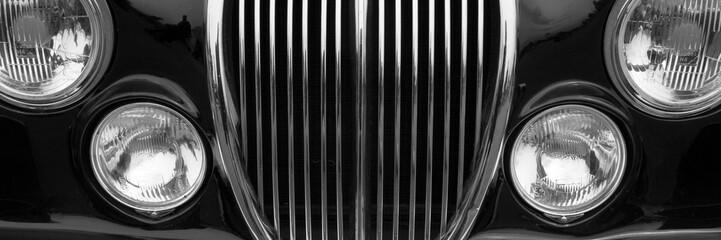 Recess Fitting Vintage cars Vintage car detail with black color - chrome grille