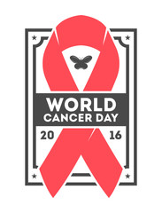 World cancer day label vector