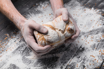 Bakery concept background. Hands hold bread loaf