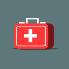 Red first aid kit isolated on gray background. Medical box with white cross like a diagnostics concept. Flat Vector illustration design
