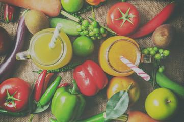 Healthy organic with Detox juice..vintage stylization.