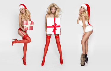 Three beautiful sexy blonde female models snowflakes dressed as Santa Claus erotic red lingerie with white fur and amazing stockings and high heels lovely makeup sensual lips, beauty photo Christmas
