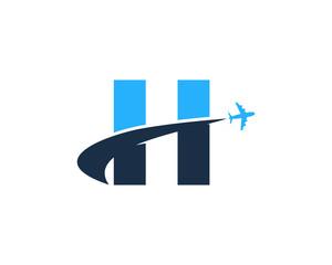 Letter H Travel Logo Design Element