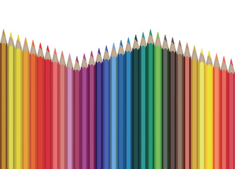 Colour pencils isolated on white background close up. Vector illustration