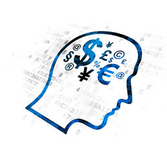 Finance concept: Head With Finance Symbol on Digital background