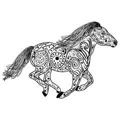 Hand drawn horse. Isolated on white. anti stress Coloring Page Vector monochrome