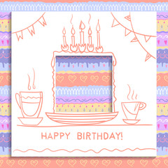Concept of birthday card. Paper square with hole cut out and handwritten drawing of holiday cake with candles. Seamless decorative pattern of pastel colors on the background.