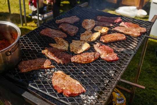 Meat on the braai / barbecue, a traditional way of cooking in south africa