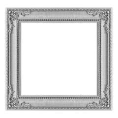 The antique gray  silver frame on the white background