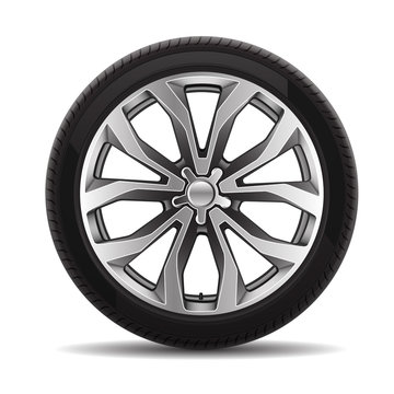 Car tire radial wheel metal alloy on isolated background vector illustration.