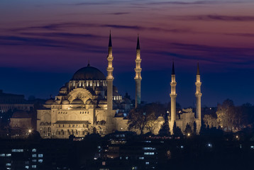 Suleymanie Mosque at Night in Istanbul Turkey