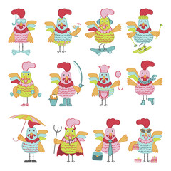 Set of Cute cartoon roosters characters illustration. Vector template with funny cocks. Symbol of 2017 Chinese New Year