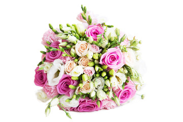 Wedding flower bouquet with white and pink roses isolated on white background