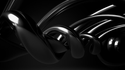 Black, stylish, modern metallic background with smooth lines. 3d