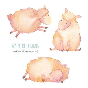 Watercolor lambs. Hand drawn cartoon young sheeps set isolated on white background. Cute illustrations of animals for baby style design