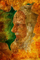 old wise senior druid profile portrait, oil painting on canvas with graphic structure