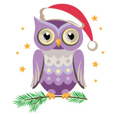 Сute owl in Santa hat. Vector illustration