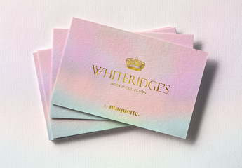 Stack of Luxury Business Cards with Gold Embossing Mockup 2