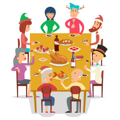Christmas Group Friends Family Eat Meal Characters Celebration Meating New Year Party Cartoon Design Vector illustration