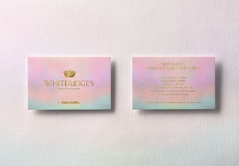 Two Luxury Business Cards with Gold Embossing Mockup 2