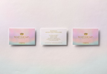 Three Luxury Business Cards with Gold Embossing Mockup 1