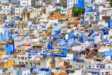 View of the famous blue city Chefchaouen in Morocco.