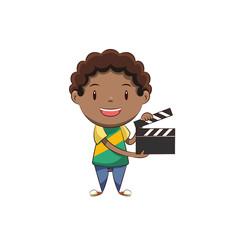 Child holding film slate