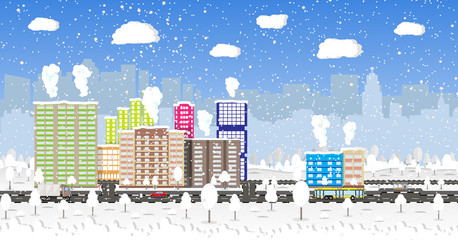Christmas and new year, winter urban cityscape