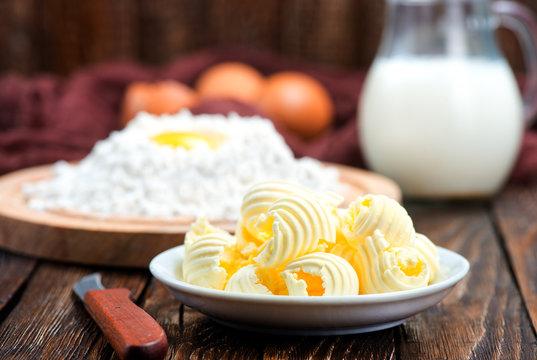 flour,milk, butter and eggs