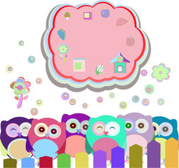 happy owl family with speech bubble,