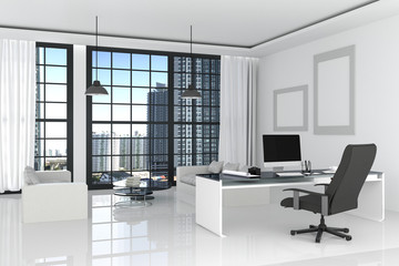 3D Rendering : illustration of modern interior white office of Creative designer desktop with PC computer,keyboard,camera,lamp hanging and other items on background with window and city view. Mock up