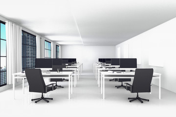 3D Rendering : illustration of modern interior white office of Creative designer desktop with PC computer.computer labs.working place of graphic design,city view. Mock up
